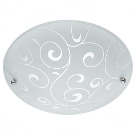 Contemporary Flush Ceiling Light With Swirl Glass Pattern 2165-40