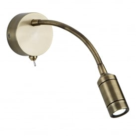 Contemporary LED Flexi Arm Wall Light In Antique Brass Finish 2256AB