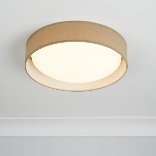 Searchlight contemporary led flush ceiling light with brown fabric contemporary led flush ceiling light with brown fabric shade 9371 37br aloadofball Images