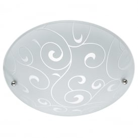 Contemporary Small Flush Ceiling Light With Swirl Glass Pattern 2165-30
