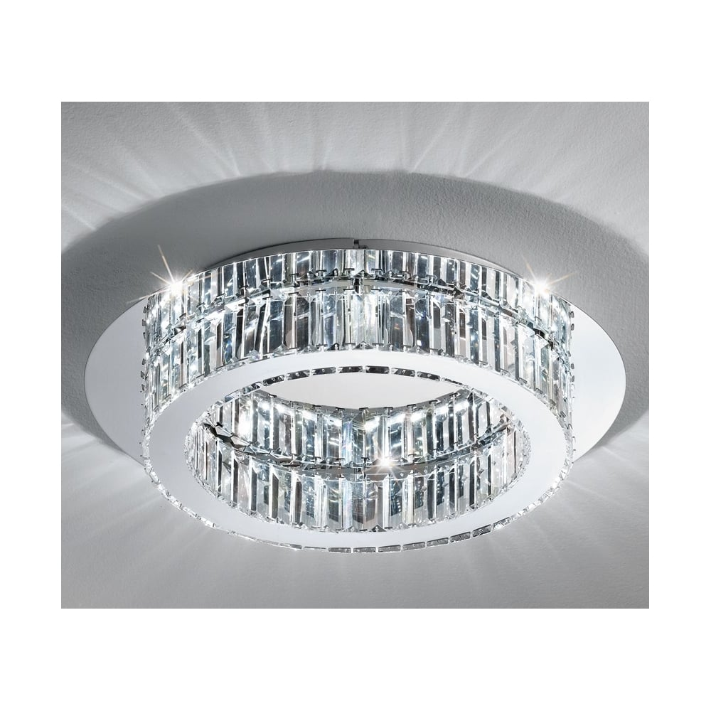 Eglo Lighting Corliano Led Crystal Flush Ceiling Light In Chrome Finish 39015 Lighting From The Home Lighting Centre Uk