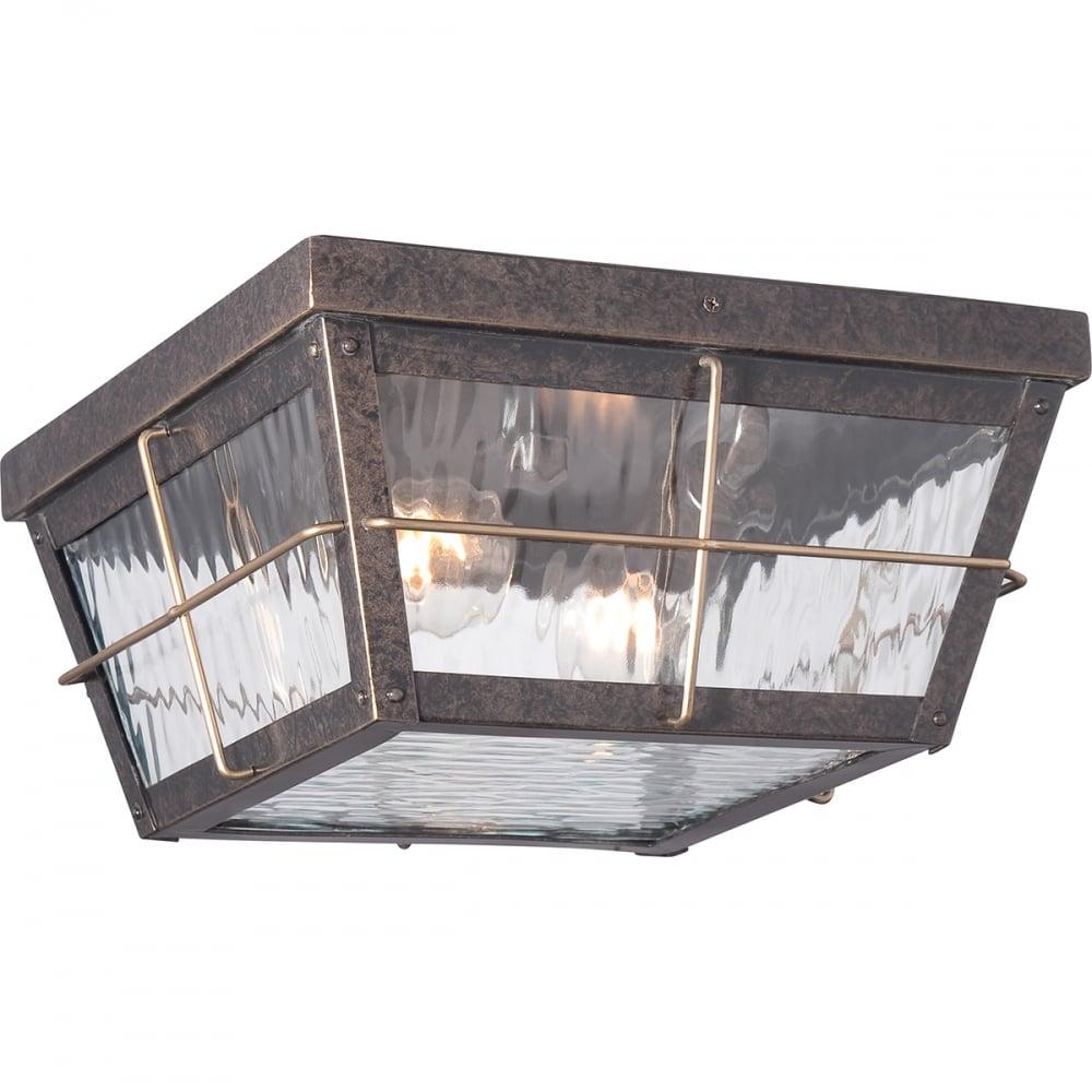 Cortland outdoor flush ceiling light in imperial bronze finish qz cortland f
