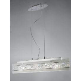 Cosmic Crystal Ceiling Bar Pendant Light In Polished Chrome Finish IL31253