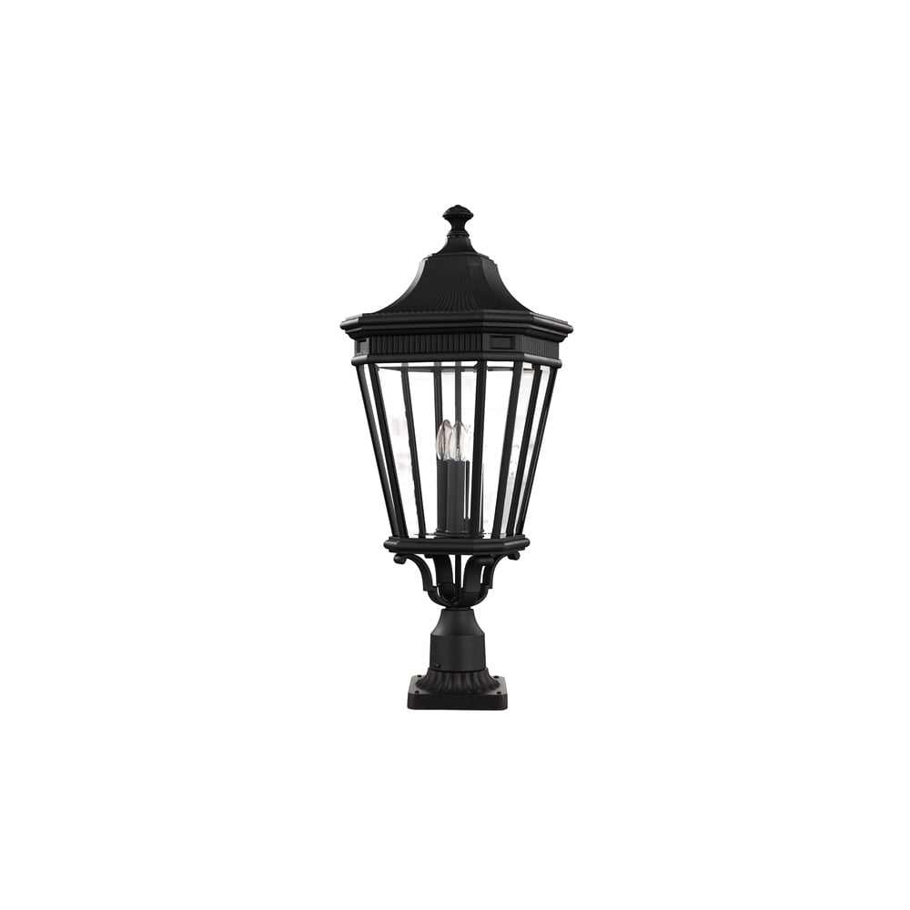 Baton Rouge Outdoor Pedestal Lantern By Feiss: Feiss Cotswold Lane Outdoor Large Pedestal Light In Black