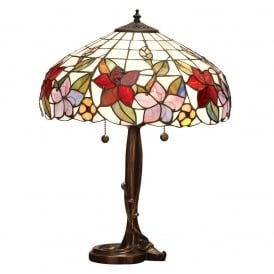 Country Border Tiffany Medium Table Lamp With Colourful Flowers 64031