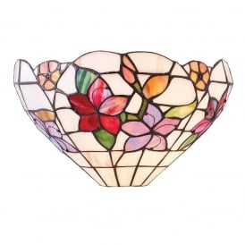 Country Border Tiffany Wall Light With Colourful Flowers 64032