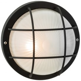 Court Outdoor Round Wall Light In Black With Glass Diffuser 3425BL