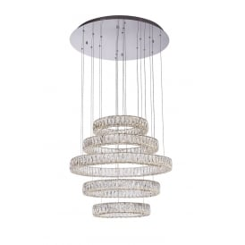 Crystal Ring Stunning 5 Ring Ceiling Pendant In Polished Chrome Finish MD15030038-5A