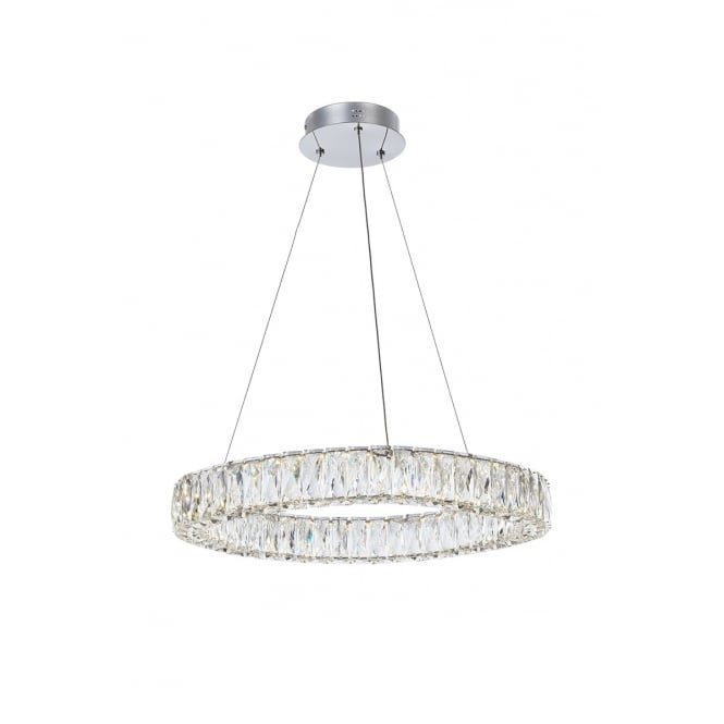 Illuminati Lighting Crystal Ring Stunning Ceiling Pendant In Polished Chrome Finish MD15030038-1B