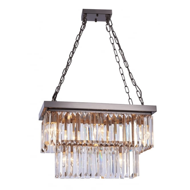 Illuminati Lighting Crystalline Stunning 8 Light Crystal Ceiling Pendant In Satin Nickel Finish MD17090009-8ASN