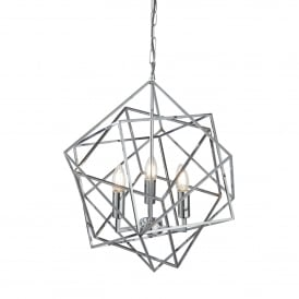 Cube Geometric Frame 3 Light Ceiling Pendant In Chrome Finish 7863-3CC