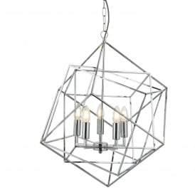 Cube Geometric Frame 5 Light Ceiling Pendant In Chrome Finish 7865-5CC