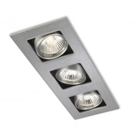 Cube Modern 3 Light Ceiling Spotlight In Brushed Steel Finish 1502