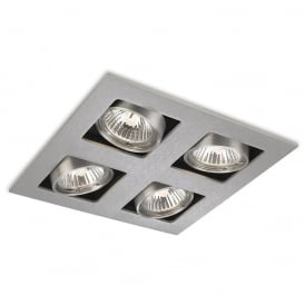 Cube Modern 4 Light Ceiling Spotlight In Brushed Steel Finish 1504