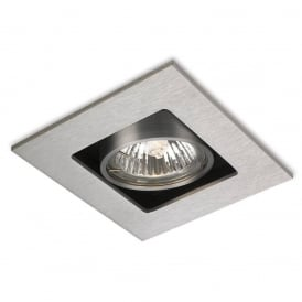 Cube Modern Single Ceiling Spotlight In Brushed Steel Finish 1500