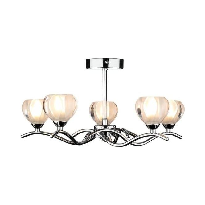 Dar Lighting CYN0550 Cynthia Semi Flush Ceiling Fitting In Chrome