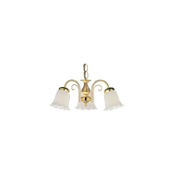 D773 3 York 3 Light Polished Brass Pendant Ceiling Fitting