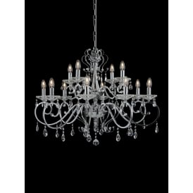 Damask Stunning 12 Light Crystal Ceiling Pendant In Polished Chrome Finish FL2372-12
