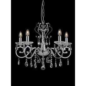 Damask Stunning 5 Light Crystal Ceiling Pendant In Polished Chrome Finish FL2372-5