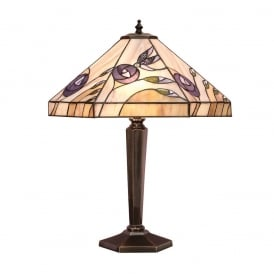 Damselfly Tiffany Medium Table Lamp With Mackintosh Rose Design 64038