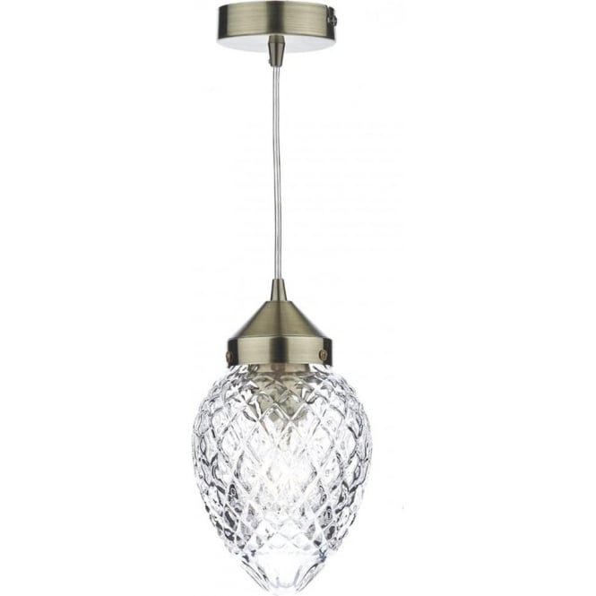 Dar Lighting Agatha 1 Light Ceiling Pendant in an Antique Brass Finish with Vintage Style Acorn Glass Shade AGA0175