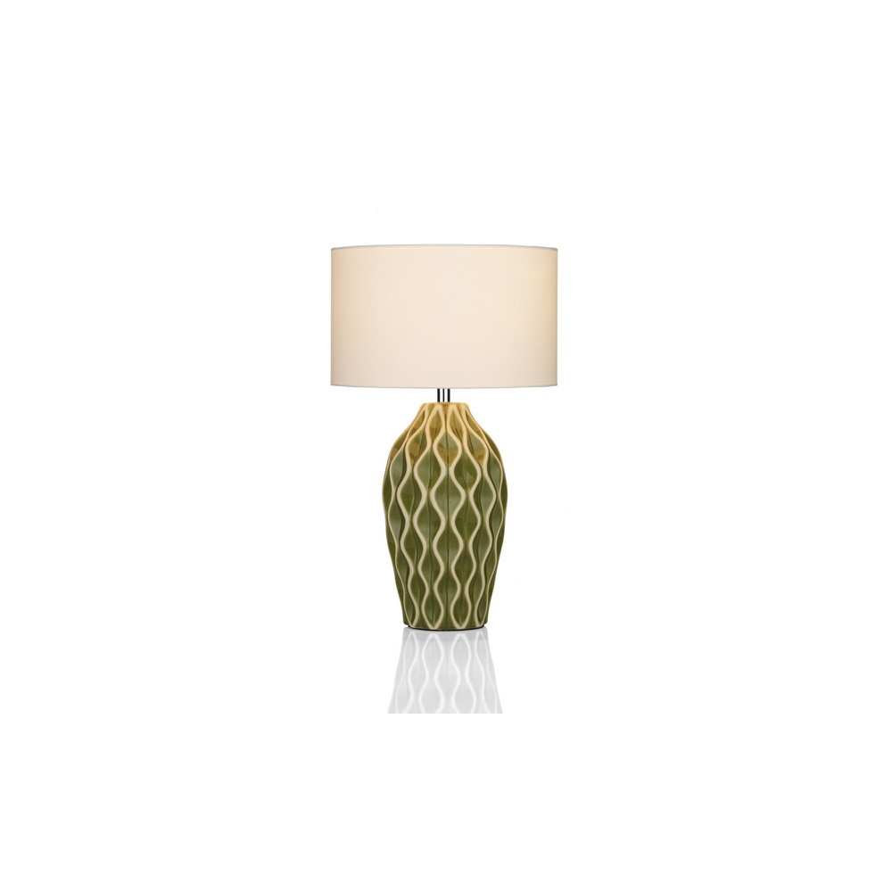 Green ceramic table lamp with shade lighting from the home lighting