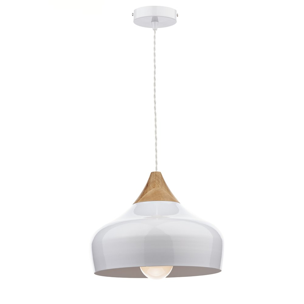 Dar lighting gau0102 gaucho white ceiling pendant light for Ceiling lamp wood