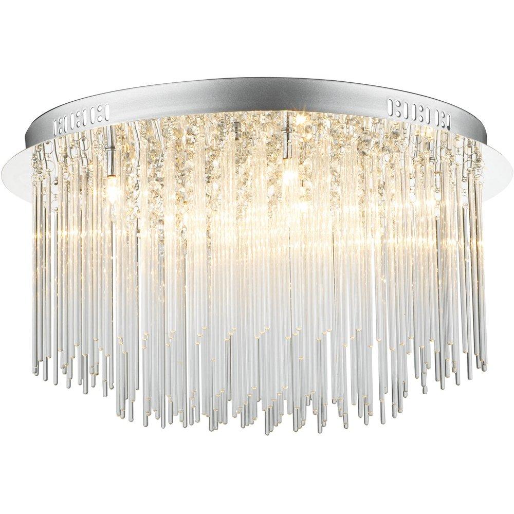 dar lighting ici4850 icicle 8 light flush polished chrome ceiling light dar lighting from the. Black Bedroom Furniture Sets. Home Design Ideas