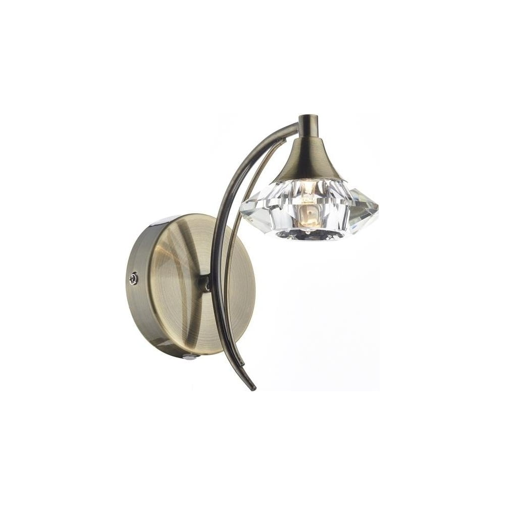 Dar lighting luther antique brass single switched wall light luther antique brass single switched wall light lut0775 aloadofball Image collections