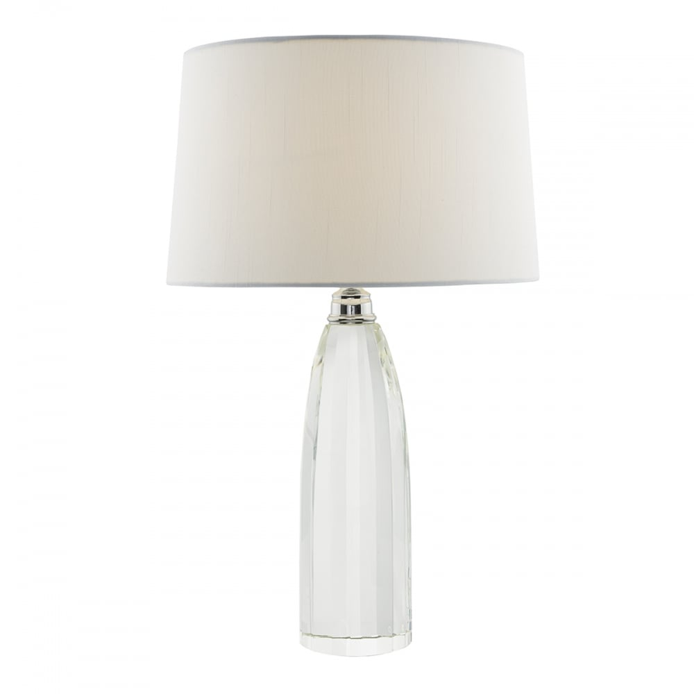 Lyla Solid Crystal Table Lamp With Ivory Faux Silk Shade LYL4208
