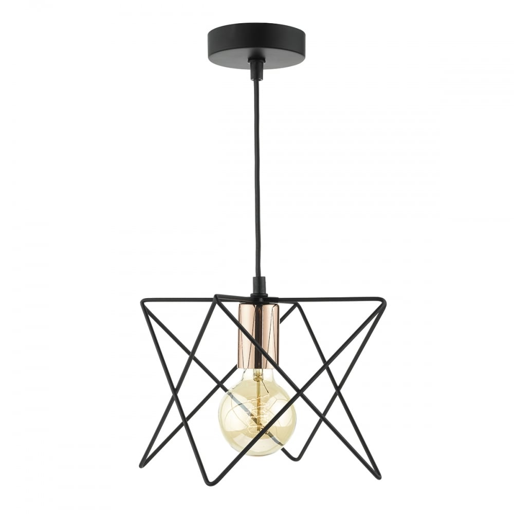 Dar Lighting Midi Wire Ceiling Pendant Light In Matt Black Finish ...