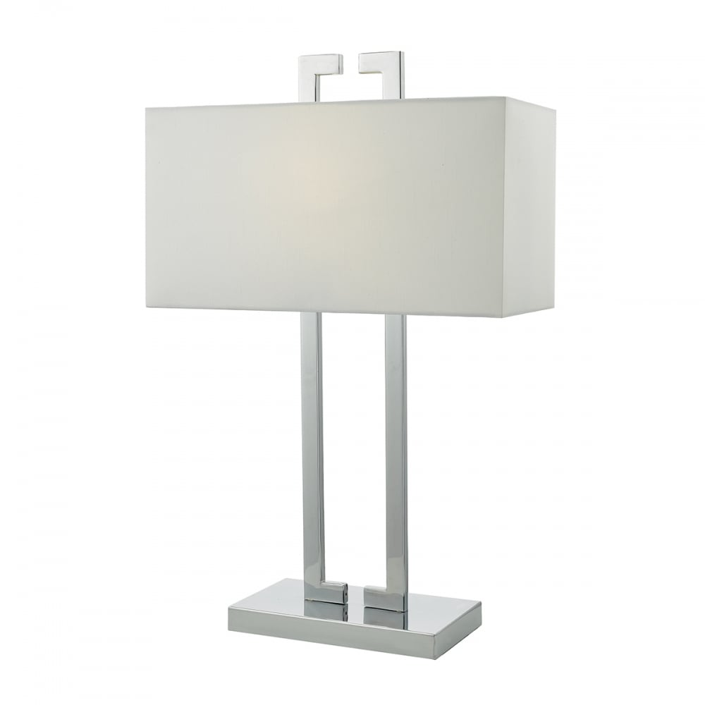 Dar lighting nile stylish table lamp in polished chrome finish with nile stylish table lamp in polished chrome finish with ivory shade nil4250 mozeypictures Choice Image