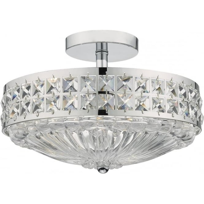 Dar Lighting Olona 3 Light Chrome and Crystal Semi Flush Ceiling Light OLO5350