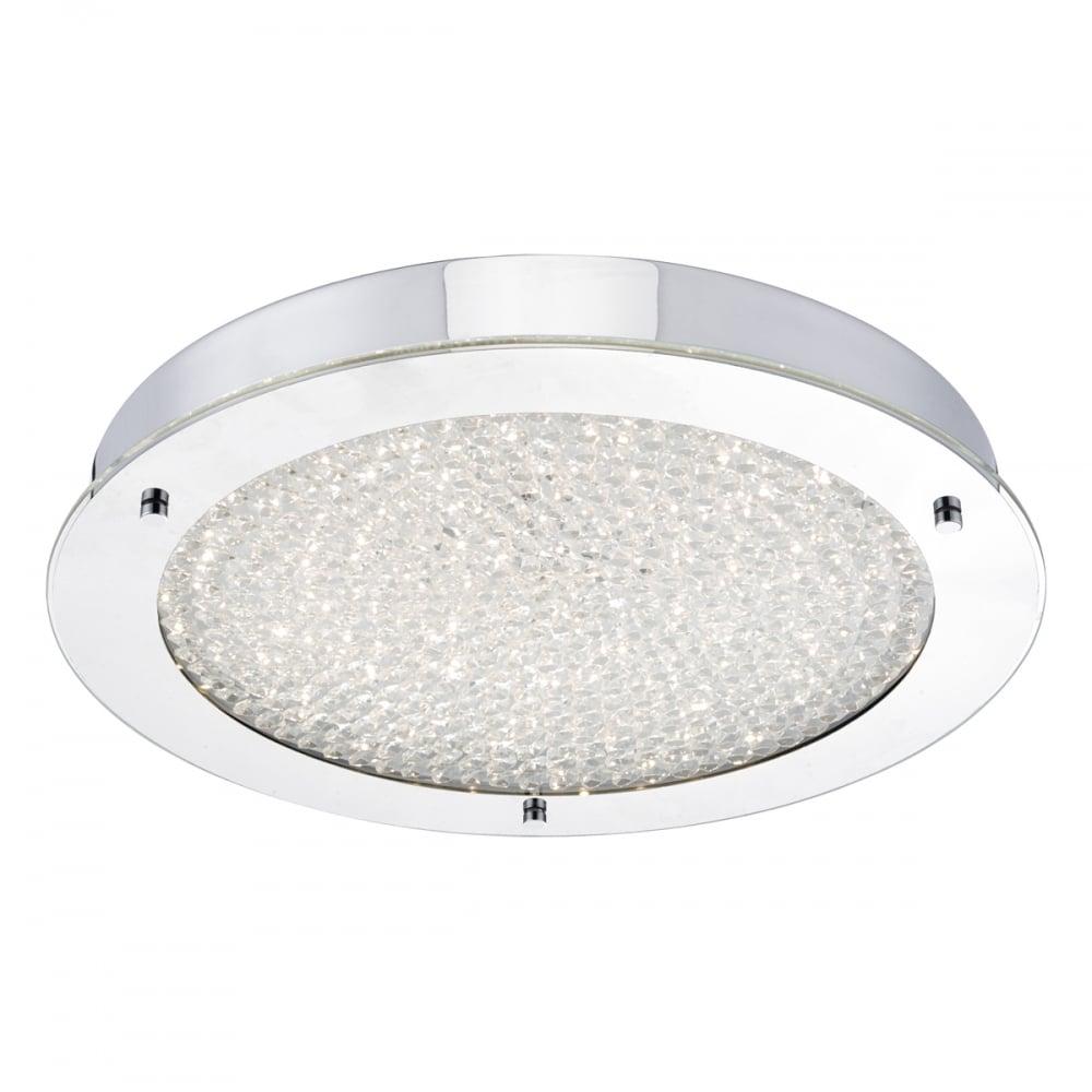 Dar lighting peta bathroom large crystal flush ceiling light in peta bathroom large crystal flush ceiling light in polished chrome finish pet5050 aloadofball Images