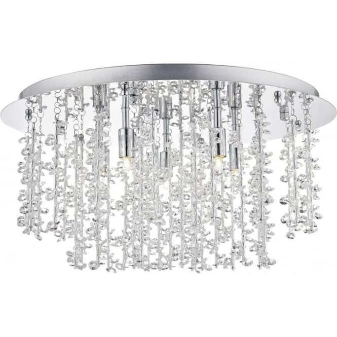 Dar Lighting Sestina 5 Light Crystal Flush Ceiling Light SES5350