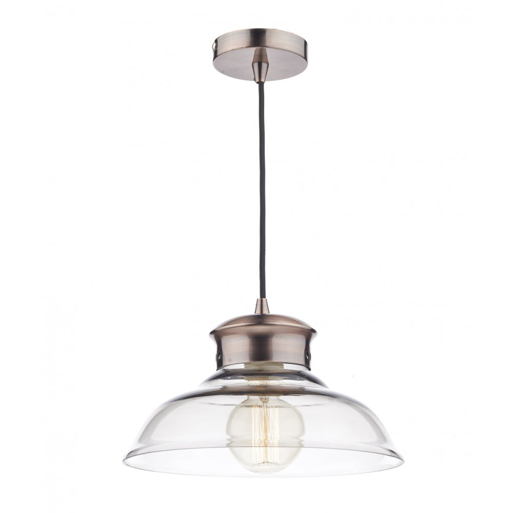 Dar lighting sir0164 siren copper and glass ceiling - Clear glass ceiling light ...