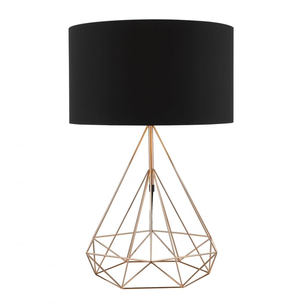 Sword Copper Wire Table Lamp With Black Cotton Shade SWO4264