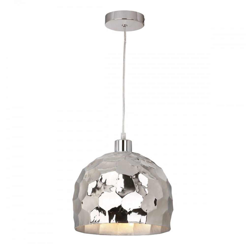 Dar Lighting Tiki Modern Easy Fit Ceiling Pendant In Bright Hammered ...