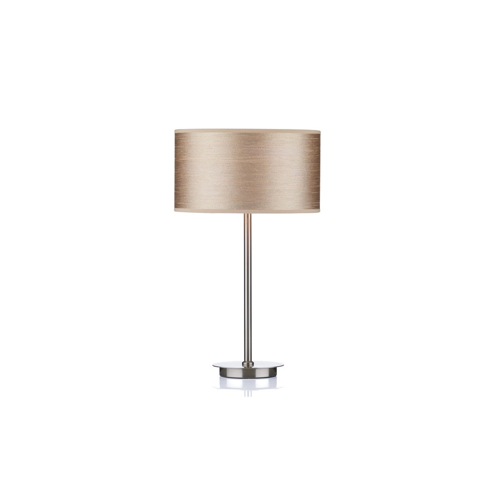 Genial TUS4046 Tuscan Table Lamp In Satin Chrome With Taupe Shade