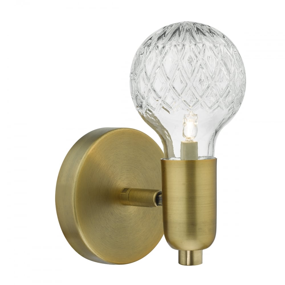 Dar lighting wrexham modern wall light in antique brass finish wrexham modern wall light in antique brass finish wre0775 audiocablefo
