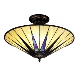 Dark Star Tiffany Pearly Cream Glass Large Semi Flush Ceiling Light 64043