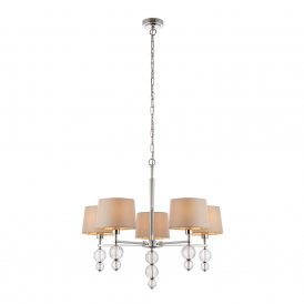 Darlaston 5 Light Ceiling Pendant In Polished Nickel Finish With Silk Shades 70214
