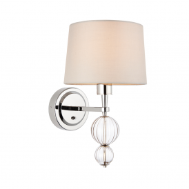 Darlaston Single Wall Light In Polished Nickel Finish With Silk Shade 70362