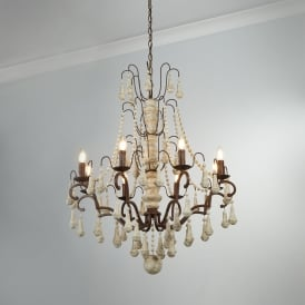 Dauphin 8 Light Ceiling Chandelier In Rustic Brown And Faux Stone 6938-8BR
