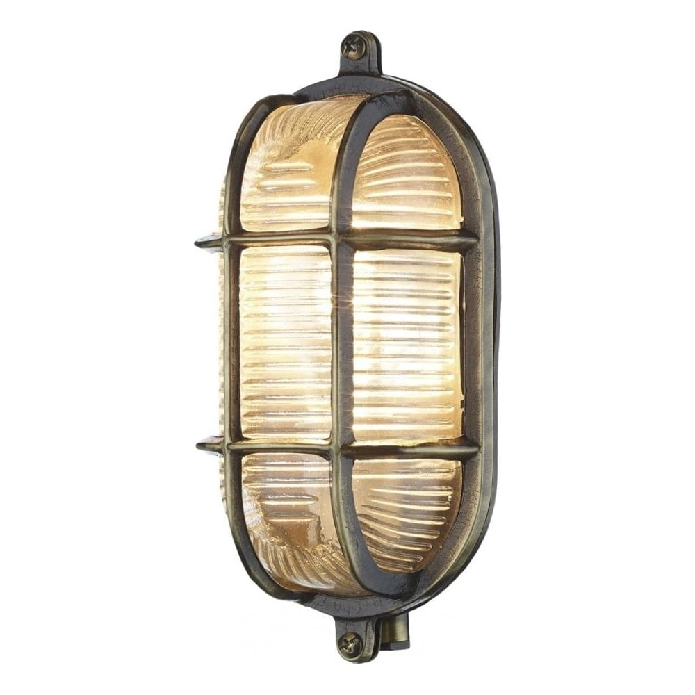 Charmant Admiral Small Oval Antique Brass Outdoor Wall Light IP64 ADM5275