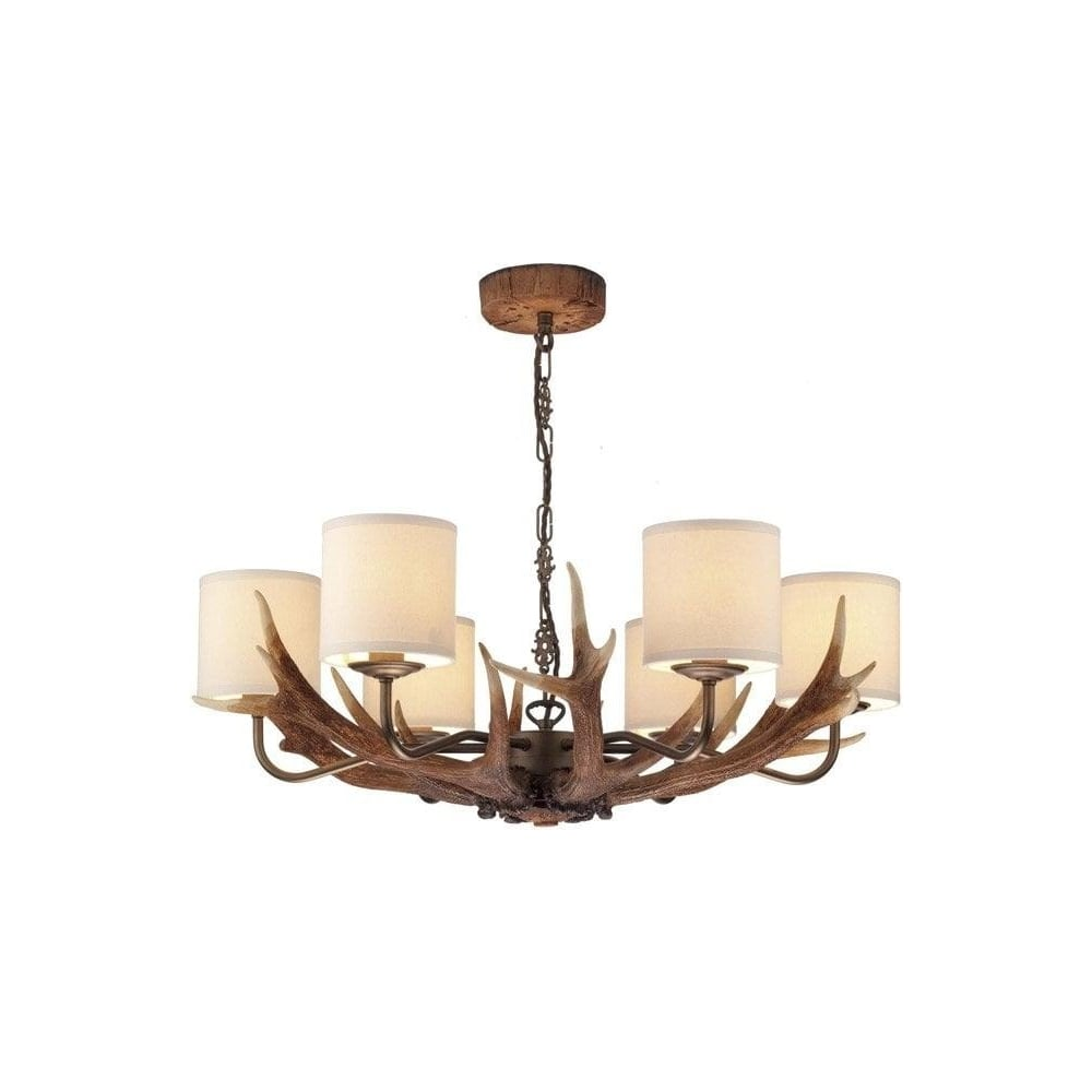 Antler 6 Light Ceiling Pendant With Cream Fabric Shades Ant0629