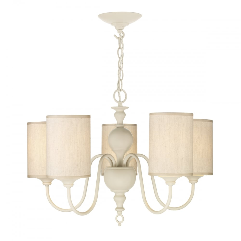 Flemish 5 Light Ceiling Pendant In Cream Finish With Fabric Shades Fle0533