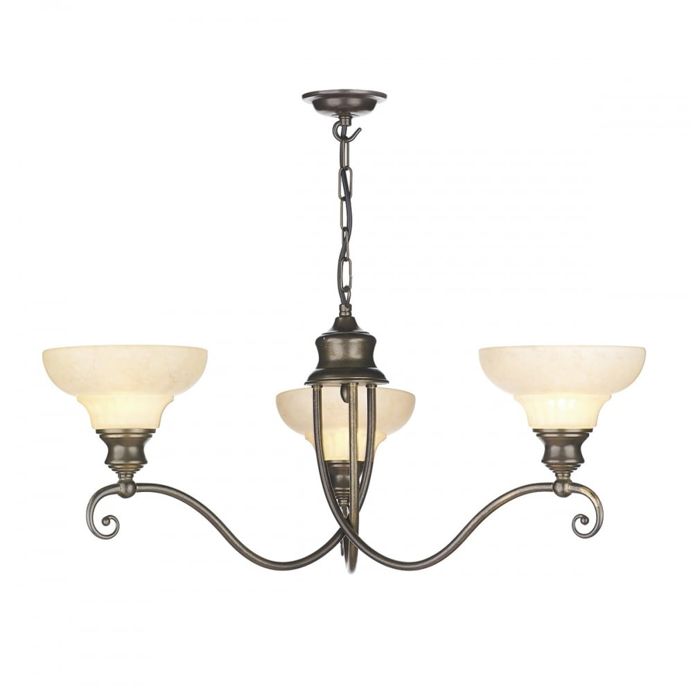 Stratford Classic 3 Light Chandelier In Aged Brass Finish With Glass Shades St311