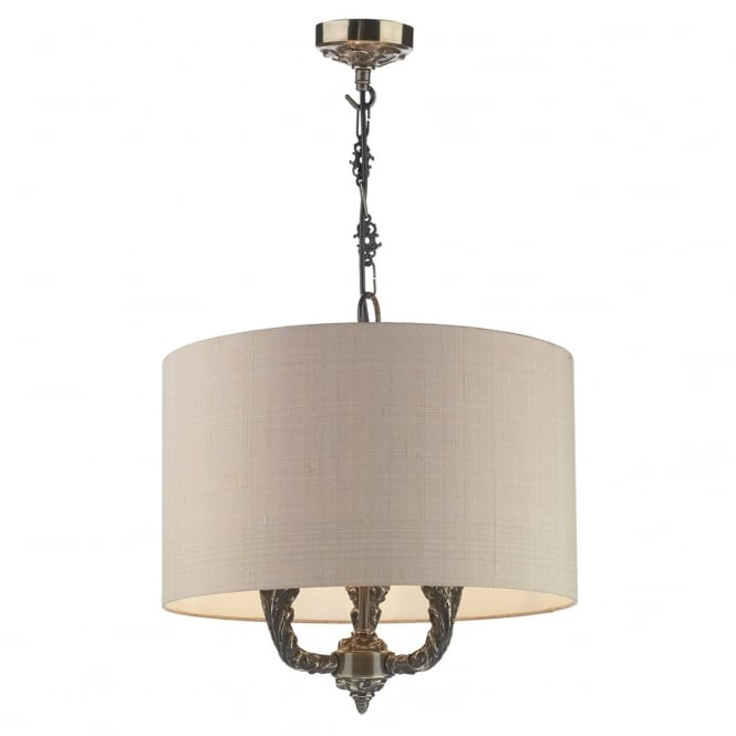 David Hunt Lighting Valerio 3 Light Ceiling Pendant In Bronze Finish With Silk Taupe Shade VAL0363