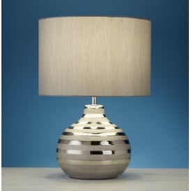 Decorative Ceramic Table Lamp With Grey Faux Silk Shade 4568GY